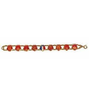 French Souvenir Enamelled Shield Bracelet